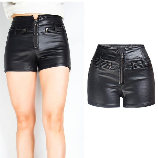 Motorcycle Leather Shorts! PU Leather Shorts, Denim, Bottoms, Women Jeans, Femme Bottoms, Hot Pants-TownTiger