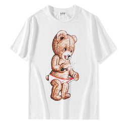 Naughty Teddy! Short Sleeve T-shirt, Unisex Tees, Couple's T-shirt, Street Fashion Tee Shirt-TownTiger