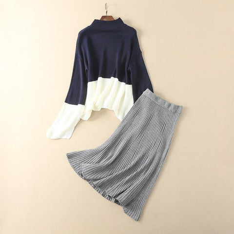 Navy Knit Loose Fitting Long Sleeve Knit Tops And Long Skirt 2 Piece