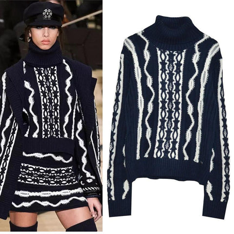 Navy Motif Sweater! Long Sleeve Knitting Wool Sweater Tops, Women Tops Knitwear Chanl-TownTiger