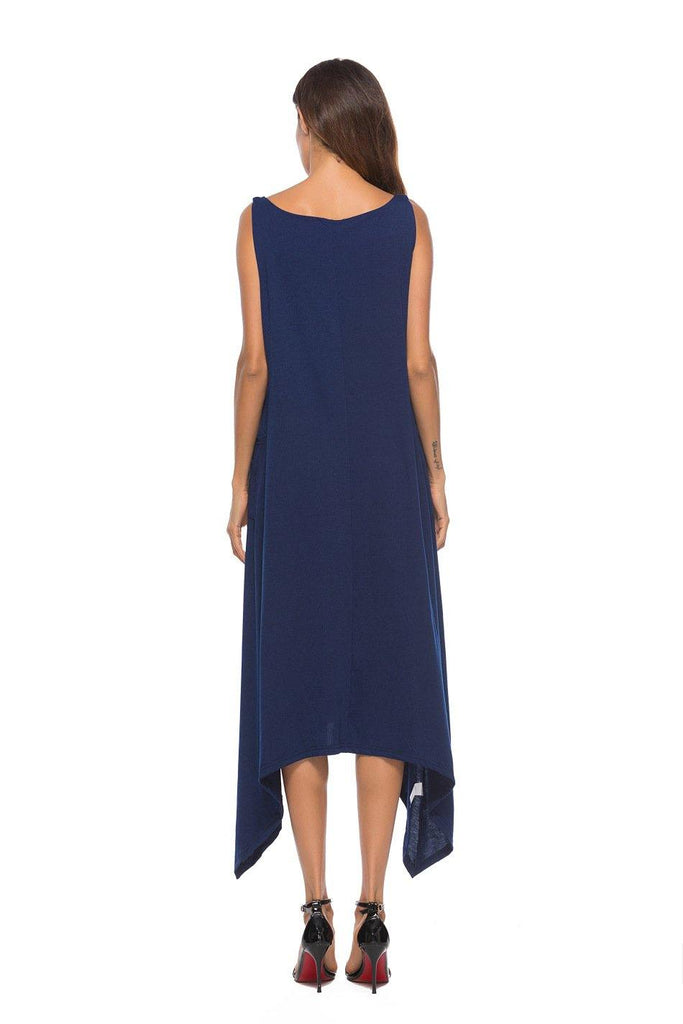 Navy Plus Size! Casual Sleeveless Cotton Dress, Tank Dress, Tee Dress, Plus  Size
