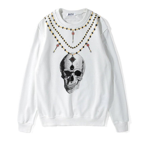 Necklace and Skull! Long Sleeve Sweatshirt, Unisex Tops, Unisex T-shirt, Sweater Tee MQ-TownTiger