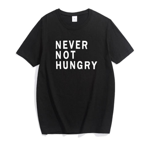 Never Not Hungry!Short Sleeve Crew Neck T-shirt, Women Tops, Girl's T-shirt, Tee-TownTiger