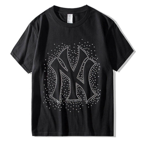 New York Rhinestones!Short Sleeve T-shirt, Unisex Tees, Couple's T-shirt, Street Fashion Tee Shirt-TownTiger