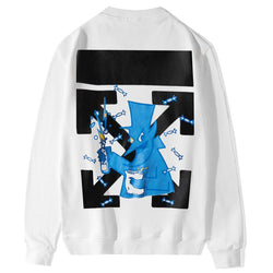 OFF Blue ! Long Sleeve Sweatshirt, Sweats Tee, Deer Women Tops