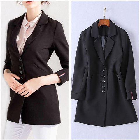 Office Trendy! Long Sleeve Women Suit Blazer, Women Office Fashion Top Jacket-TownTiger