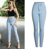 Pale Blue! Blue Skinny High-Waisted Jeans, Denim Bottoms, Women Jeans, Femme-TownTiger