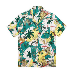 Palm Tree and PineApple! Holiday Style Short Sleeve Chiffon Shirt, Women Shirt-TownTiger