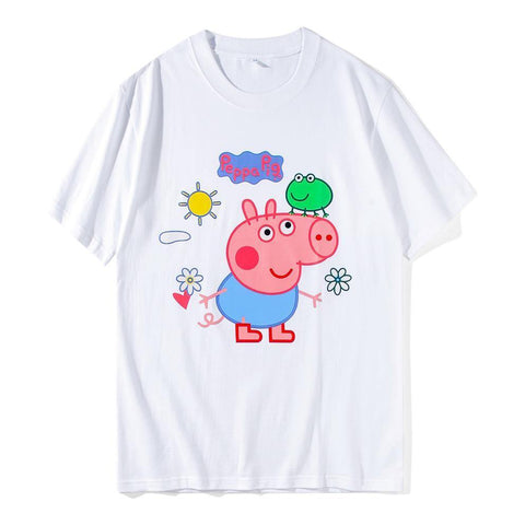 Peppa Pig And Frog Short Sleeve T Shirt Unisex Tees Couple S T Shirt