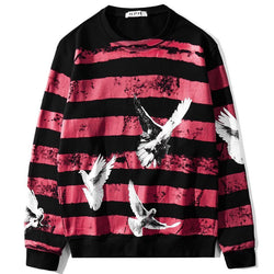 Pigeons Striped red! Long Sleeve Sweatshirt, Unisex Tops, Unisex T-shirt, Sweater Tee