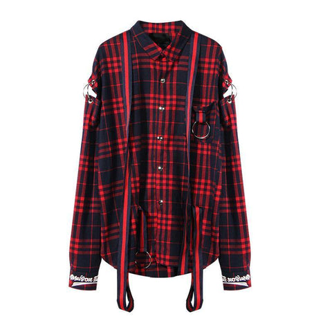 Plaid Shirts! Oversized Long Sleeve Printed Plaid Shirts with Ribbon and Metal Rings, Women Tops, Blouse-TownTiger