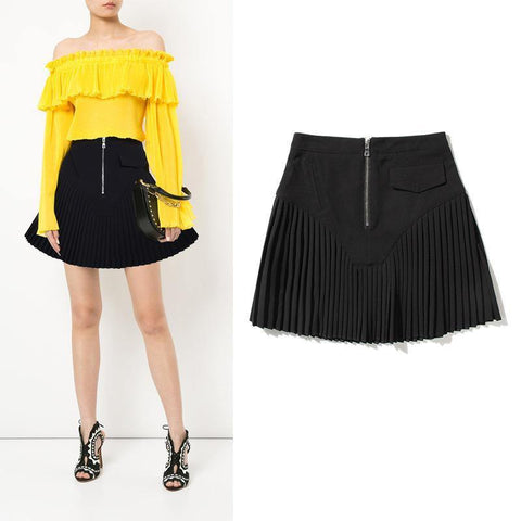 Pleated Skirt! Black Pleated Short Skirt with Zipper, Women Dresses-TownTiger