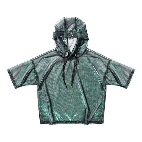 Psychedelic!Short Sleeve See-Through Cover Hoodie, Women Sun Protection Jacket, UV Beach-TownTiger