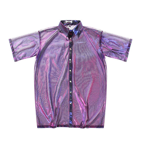 Psychedelic!Short Sleeve See-Through Cover Shirt, Women Sun Protection Shirt, UV Beach-TownTiger