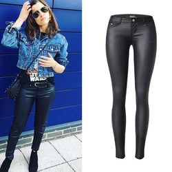 PU Skinny Low Waisted! Leather Pants, Bottoms, Women Jeans, Femme Bottoms, Pants-TownTiger
