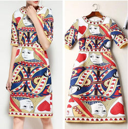 Queen of Hearts! Short Sleeve Round Neck Printed Dresses, Women Dresses-TownTiger