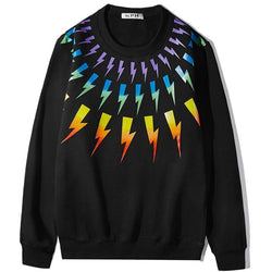 Rainbow color Thunder! Long Sleeve Sweatshirt, Unisex Tops, Unisex T-shirt, Sweater Tee Neil Barrett