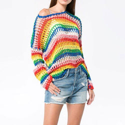 Rainbow Crochet! Long Sleeve Knitting Tops, Women Tops Knitwear, Color Rainbow-TownTiger