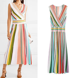 Rainbow! Knitted Sleeveless Midi Dress, Knits Dresses, Striped Dress-TownTiger