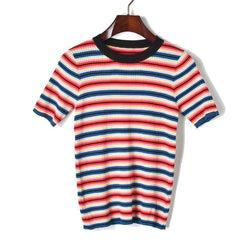 Red-Blue Stripes! Short Sleeve Knitted Sweater Tops, Women Tops Knitwear, Summer Knit-TownTiger
