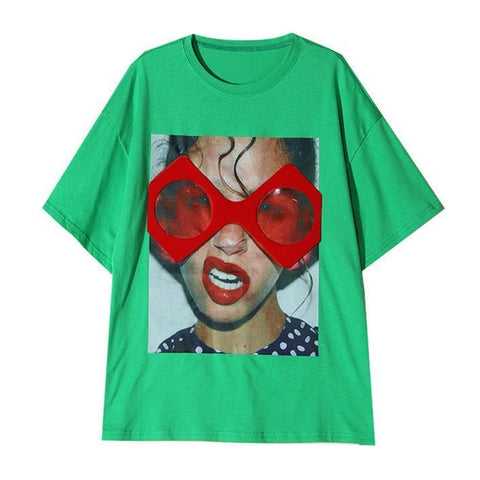 Red Glasses! Short Sleeve T-shirt, Women Tops, Girl's T-shirt, Tee-TownTiger