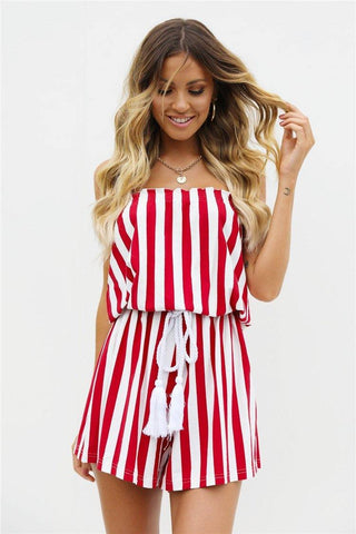 83c32ccf7c93 Red Stripes! Strapless Striped Rompers