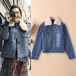 Ripped as Monogram! Quilted Winter Denim Jacket with Ripped Pattern, Women Jeans Jacket Tops 2018-TownTiger