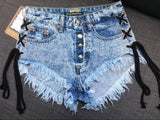 Rope!Blue Jeans Shorts, Denim Shorts, Bottoms, Women Jeans, Femme Bottoms, Hot Pants-TownTiger