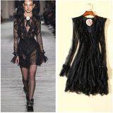 Rose! Long Sleeve Black Small Lace Dress , Women Mini Black Dress McKenna Hellam 2019-TownTiger