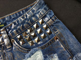 Rust Stained! Blue Jeans,Printed Denim Hot Pants, Bottoms,Femme Bottoms, Metal-TownTiger