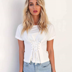 Sale Laced Up! Attractive Short Sleeve Laced-up Tops, T-Shirts Women Sexy Tops, Women Tops-TownTiger