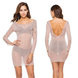 See-Through! Long Sleeve Pink Sexy See-through Bottoming Dress, Low-Back Cover Dress-TownTiger