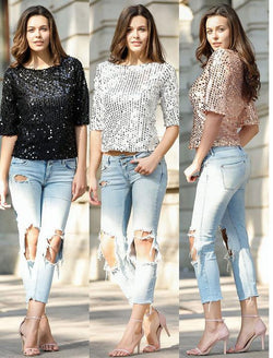 Sequins Tops! , Plus-Size Tops, Women Tops 3 Colors Available Black Silver Golden-TownTiger
