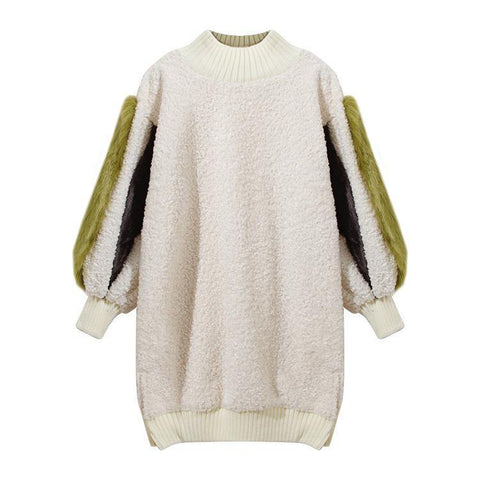 Sherpa! Long Sleeve Faux Sherpa Sweatshirt Tops, Women Tops, Women Sweater Dress-TownTiger
