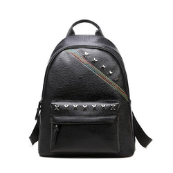 Shine X ! Black PU Leather Backpack Bags, Lychee Pattern-TownTiger
