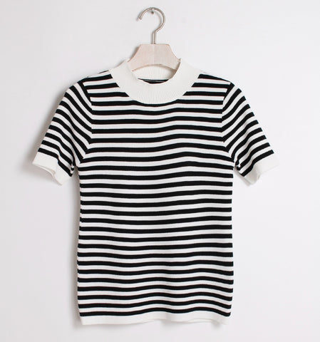 Simple Striped One Size Short Sleeve Knitting Tops Women Tops Girl