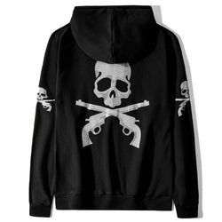 Skull and Gun! Long Sleeve Unisex Zipper Hoodie Sweatshirt, Hooded SweatShirt