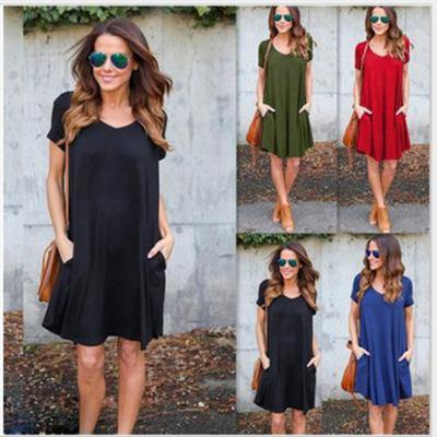 lace up in exclusive shoes outlet Solid Color Dress! Casual Style Simple Short Sleeve Dress, Modal Jersey  Dress , Tee Dress