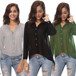 Solid Color! Simple Basic Casual Long Sleeve Chiffon Shirt, Women Shirt-TownTiger