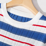 Striped Knits!Short Sleeve Knitting Pullover Tops, Women Tops Knitwear, Summer Knit-TownTiger