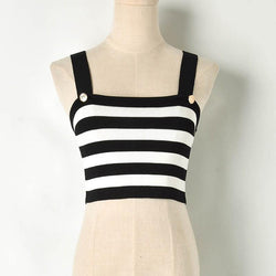 Striped! Knitted Sweater Tank Tops, Women Tops Knitwear, Summer Knit Striped Tank-TownTiger