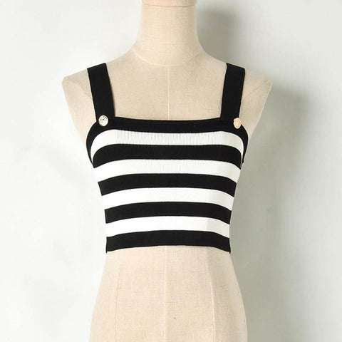 ef87b66f16bf4 Striped! Knitted Sweater Tank Tops