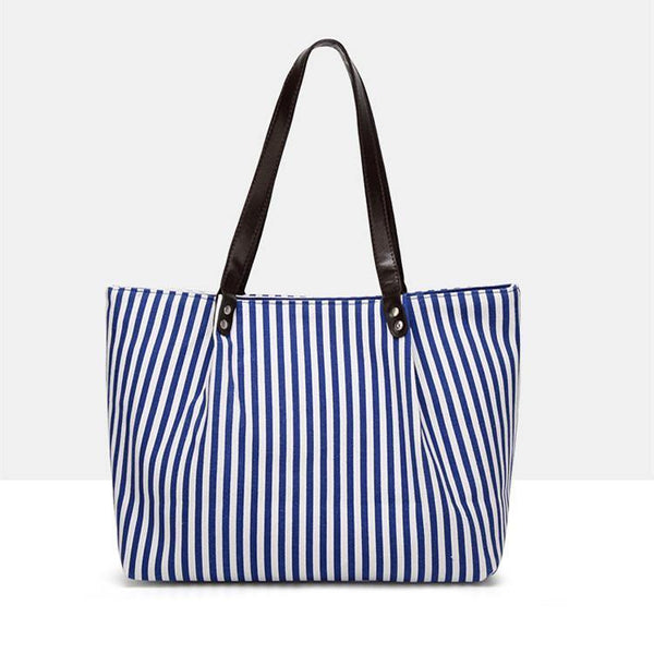 Striped Tote! Big Capacity Mother and Daughter Tote, Striped Canvas Bag, Shopping Bag-TownTiger