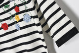 Stripes and Floral! Knitting Tops, Short Sleeve Women Tops, Girl's Knitwear, Summer Knit-TownTiger