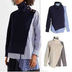 Stripes and Knits! Women Color-contrast Knitwear Shirt Top, Blue Striped Shirt Sacai-TownTiger