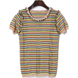 Stripes Knit!Short Sleeve Knitting Tops, Women Tops, Girl's Knitwear, Summer Knit-TownTiger