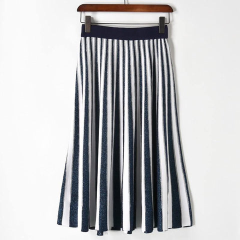 Stripes! Pleated Medium Length Knitting Skirt with Stripes, Women Skirt, Navy Black Gray-TownTiger