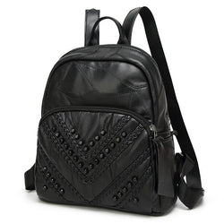 Studs Chevron! Black Genuine Sheep Skin Backpack Bags, Suede Bags-TownTiger