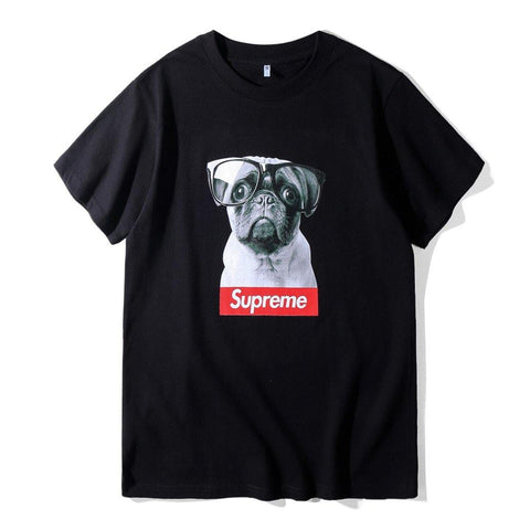 Supreme Pug with Glasses!Short Sleeve T-shirt, Unisex Tees, Couple's T-shirt, Street Fashion Tee-TownTiger