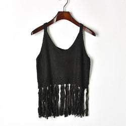 Tassels Tank! Solid Color Knitting Tank Tops, Women Tops, Girl's Knitwear, Summer Knit-TownTiger